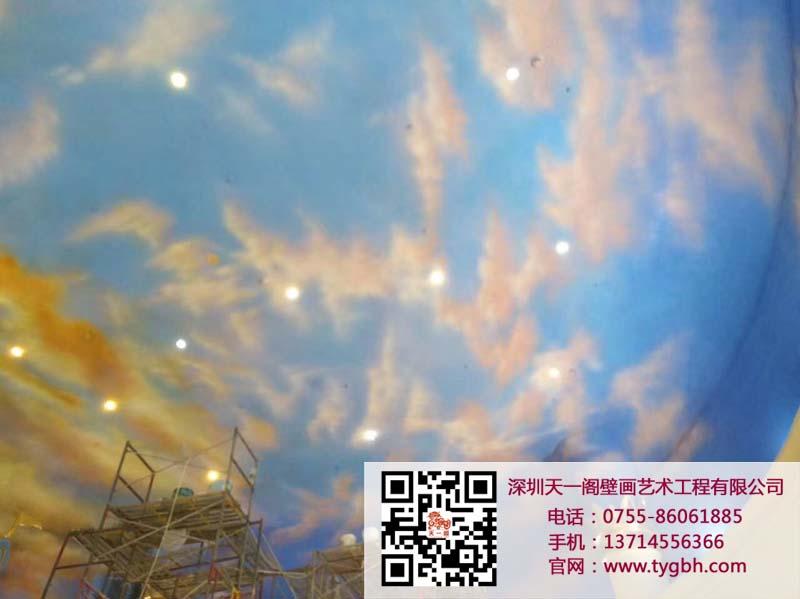 恒大童世界 展厅天顶蓝天白云手绘彩绘喷绘涂鸦壁画工程