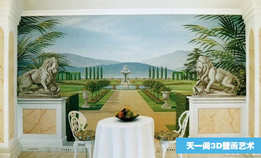 蓝天白云壁画主题乐园彩绘文化墙彩绘酒店壁画欧式